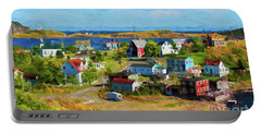 Colorful Homes In Trinity, Newfoundland - Painterly Portable Battery Charger by Les Palenik