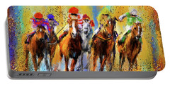 Colorful Horse Racing Impressionist Paintings Portable Battery Charger