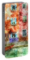 Colorful Houses In Burano Island, Venice Portable Battery Charger