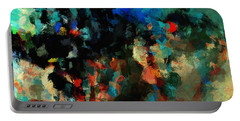 Portable Battery Charger featuring the painting Colorful Landscape / Cityscape Abstract Painting by Ayse Deniz