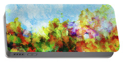 Portable Battery Charger featuring the painting Colorful Landscape Painting In Abstract Style by Ayse Deniz