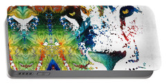 Colorful Lion Art 2 By Sharon Cummings Portable Battery Charger