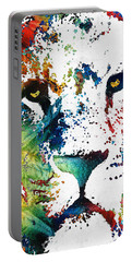 Colorful Lion Art By Sharon Cummings Portable Battery Charger