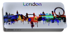 Colorful London Skyline Silhouette Portable Battery Charger