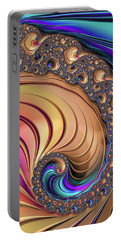 Portable Battery Charger featuring the digital art Colorful Luxe Fractal Spiral by Matthias Hauser