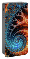 Colorful Luxe Fractal Spiral Turquoise Brown Orange Portable Battery Charger
