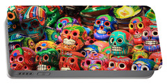 Colorful Mexican Day Of The Dean Ceramic Skulls Portable Battery Charger by Roupen  Baker
