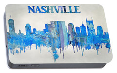Colorful Nashville Skyline Silhouette Portable Battery Charger by Dan Sproul