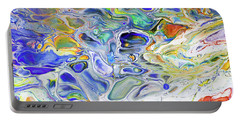 Colorful Night Dreams 3. Abstract Fluid Acrylic Painting Portable Battery Charger