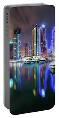 Colorful Night Dubai Marina Skyline, Dubai, United Arab Emirates Portable Battery Charger