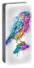 Colorful Owl Portable Battery Charger by Marian Voicu
