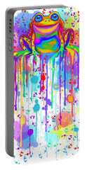 Portable Battery Charger featuring the painting Colorful Painted Frog  by Nick Gustafson