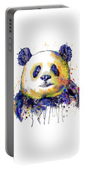 Portable Battery Charger featuring the mixed media Colorful Panda Head by Marian Voicu