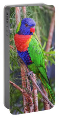 Colorful Parakeet Portable Battery Charger by Stephanie Hayes