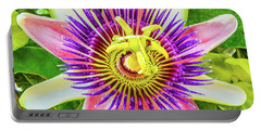 Colorful Passiflora Flower Of Bermuda Portable Battery Charger