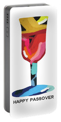 Portable Battery Charger featuring the mixed media Colorful Passover Goblet- Art By Linda Woods by Linda Woods