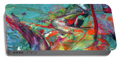 Colorful Puffin Bird Art - Happy Abstract Animal Birds Painting Portable Battery Charger