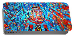 Portable Battery Charger featuring the painting Colorful Rockefeller Center Atlas by Dan Sproul