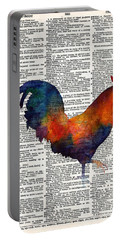Colorful Rooster On Vintage Dictionary Portable Battery Charger by Hailey E Herrera