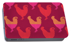 Colorful Roosters- Art By Linda Woods Portable Battery Charger by Linda Woods