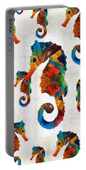 Colorful Seahorse Collage Art By Sharon Cummings Portable Battery Charger
