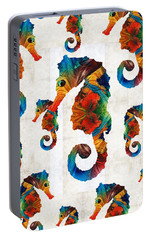Colorful Seahorse Collage Art By Sharon Cummings Portable Battery Charger by Sharon Cummings