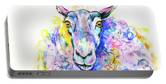 Portable Battery Charger featuring the painting Colorful Sheep by Zaira Dzhaubaeva