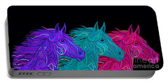 Portable Battery Charger featuring the drawing Colorful Stallions  by Nick Gustafson