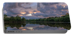 Portable Battery Charger featuring the photograph Colorful Sunset At The Lake by Lori Coleman