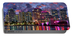 Colorful Sunset Over Downtown West Palm Beach Florida Portable Battery Charger