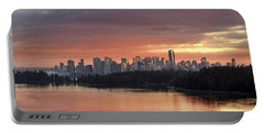Colorful Sunset Over Vancouver Bc Downtown Skyline Portable Battery Charger