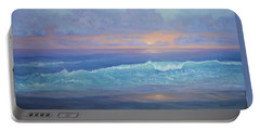 Cape Cod Colorful Sunset Seascape Beach Painting With Wave Portable Battery Charger