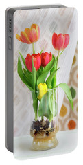 Colorful Tulips And Bulbs In Glass Vase Portable Battery Charger