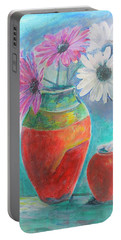 Colorful Vases And Flowers Portable Battery Charger