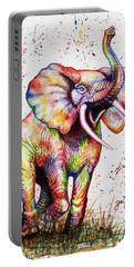 Portable Battery Charger featuring the painting Colorful Watercolor Elephant by Georgeta Blanaru