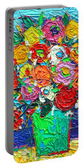 Colorful Wildflowers Abstract Modern Impressionist Palette Knife Oil Painting By Ana Maria Edulescu  Portable Battery Charger