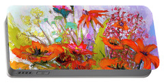 Portable Battery Charger featuring the painting Colorful Wildflowers Bunch, Oil Painting, Palette Knife by Patricia Awapara