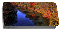Colors Of Nature - Fall River Reflections 001 Portable Battery Charger