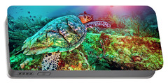 Portable Battery Charger featuring the photograph Colors Of The Sea In Lights by Debra and Dave Vanderlaan