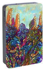 Portable Battery Charger featuring the painting Colorwild by Rae Chichilnitsky