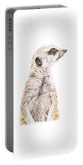 Portable Battery Charger featuring the drawing Colour Meerkat by Elizabeth Lock