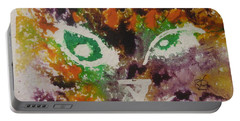 Portable Battery Charger featuring the drawing Colourful Cat Face by AJ Brown