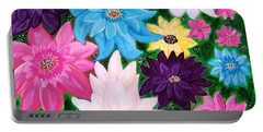 Portable Battery Charger featuring the painting Colourful Flowers by Sonya Nancy Capling-Bacle