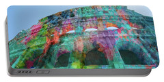 Portable Battery Charger featuring the mixed media Colourful Grungy Colosseum In Rome by Clare Bambers