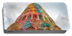 Portable Battery Charger featuring the mixed media Colourful Leaning Tower Of Pisa by Clare Bambers