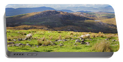 Colourful Undulating Irish Landscape In Kerry With Grazing Sheep Portable Battery Charger by Semmick Photo