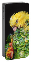 Portable Battery Charger featuring the drawing Colours Of The Jungle - Yellow-headed Amazon by Elena Kolotusha