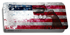 Colt Python 357 Mag On American Flag Portable Battery Charger