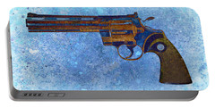 Colt Python 357 Mag On Blue Background. Portable Battery Charger