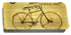 Portable Battery Charger featuring the mixed media Columbia Bicycle Vintage Poster On Wood by Dan Sproul